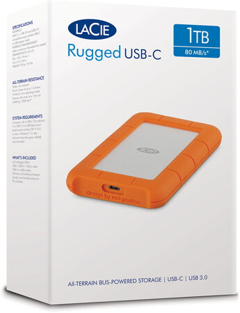 Lacie Rugged Mini 1 To Orange USB Type C