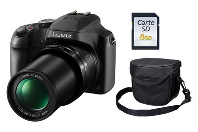 Panasonic Lumix FZ82 Noir + Carte SD 8 Go + Sac de transport