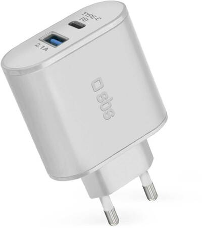 SBS Chargeur courant USB C avec Quick Charge 3.0 - Blanc