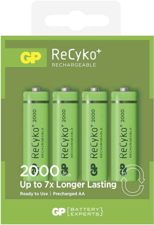 GP 4 batteries AA ReCyko+ rechargeables - 2.000 mAh
