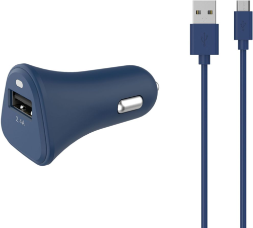 ESSENTIEL-B Chargeur allume-cigare USB 2,4A + Cable Micro-USB bleu nuit